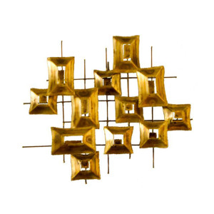 Metal Abstract Gridded Wall Sculpture