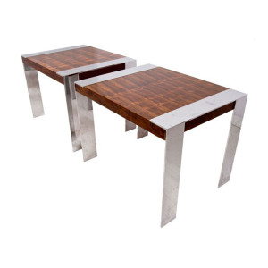 Milo Baughman Pair of Rio Rosewood and Chrome Side Tables