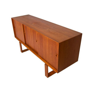 Danish Modern Teak Sliding 3-Door Sideboard