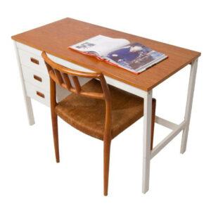 Danish Modern Teak and White Lacquer Desk