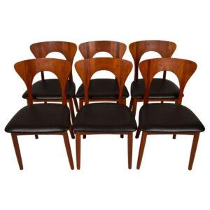 Set of 6 Koefoeds Hornslet Peter Teak Dining Chairs