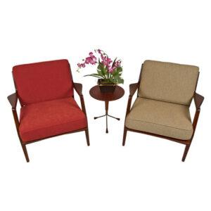 Pair Kofod Larsen for Selig Walnut Lounge Chairs