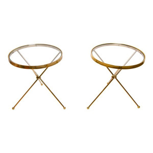 Arturo Pani Pair of Brass and Glass Tripod Accent Tables