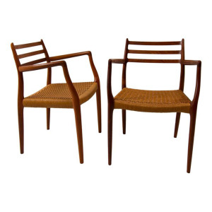Pair of Rosewood Niels Moller Dining Arm Chairs