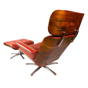 Mid Century Eames Style Rosewood Chair and Ottoman