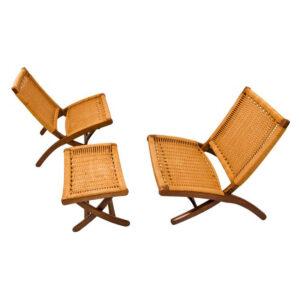 Pair of Walnut Danish Cord Folding Chairs and Ottoman