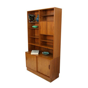 Danish Modern Walnut Adjustable Display Cabinet