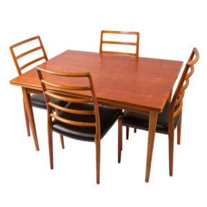 Unique Fold-Out Expanding Danish Teak Dining Table