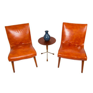 Pair of MCM Leather Scoop Chairs