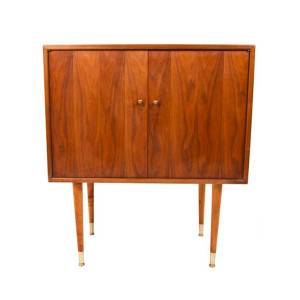 Tall and Compact Walnut Storage-Bar Cabinet