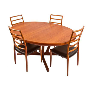 Immense Danish Modern Teak Expanding Dining Table