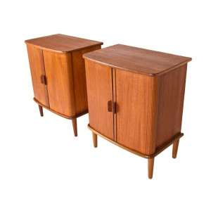Rare Pair of Teak Tambour Door Side Tables-Nightstands