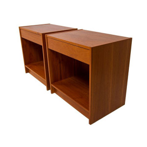 Pair of Square Teak Side Tables-Nightstands