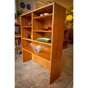 Compact 2-Piece Danish Teak Display Cabinet