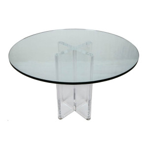 Round Glass and Lucite X-Base Table