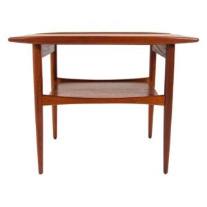 Walnut Danish Modern Compact Side Table