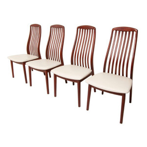 Set of 4 Danish Modern Rosewood Slatback Dining Chairs