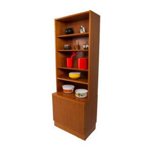 Slim Danish Modern Teak Display Cabinet