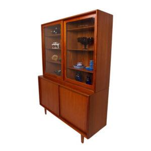 Kofod Larsen Teak 2 Piece Display Cabinet
