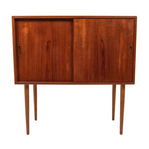 Tall & Compact Danish Teak Bar Cabinet