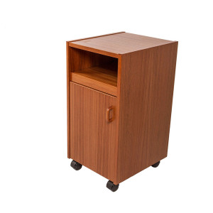 Tall Compact Teak Rolling Nightstand with Pull-Out Shelf