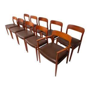 Set of 10 Niels O. Møller Model 75 Teak Dining Chairs