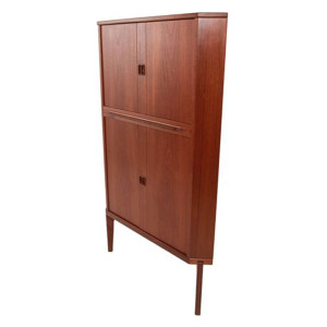 Dark Danish Teak Tall Corner Bar Cabinet