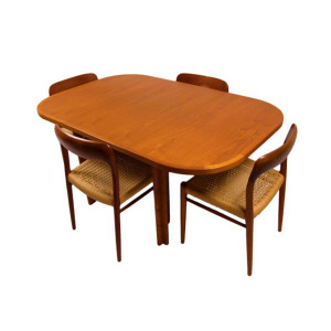 Danish Teak Rounded Square Expanding Dining Table