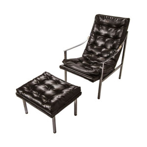 Vintage Chrome Lounge Chair and Ottoman