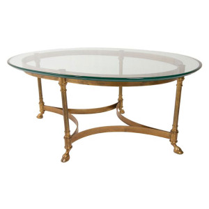 Small LaBarge Brass & Glass Coffee Table