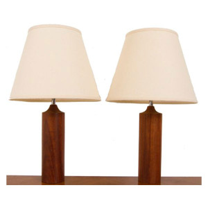 Pair of Solid Turned Teak Table Lamps