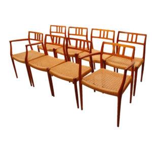 Set of 8 Danish Teak Niels Møller #79 Dining Chairs