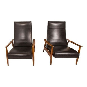 Pair Milo Baughman for Thayer Coggin Reclining Lounge Chairs