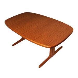 Danish Modern Teak Oval Expanding Dining Table