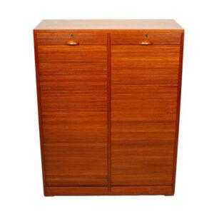 Kai Kristiansen Style Danish Teak Double Tambour Door Filing Cabinet