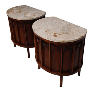 Kent Coffey Walnut Accent Tables/Nightstands with Travertine Tops