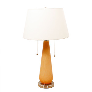 Teardrop Form Tangerine Art Glass Table Lamp