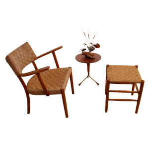 Rare Fritz Hansen 1930's Woven Rope Chair & Ottoman