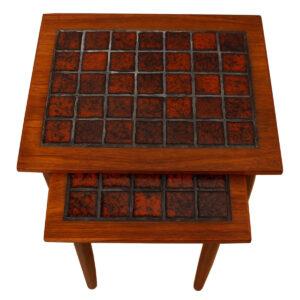 Pair of Danish Modern Teak & Tile Nesting Tables