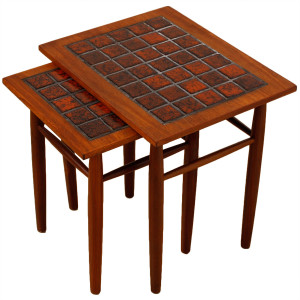 Unique Pair of Danish Modern Teak & Tile Nesting Tables