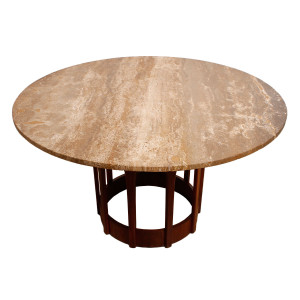 Harvey Probber Travertine Top Dining / Game Table
