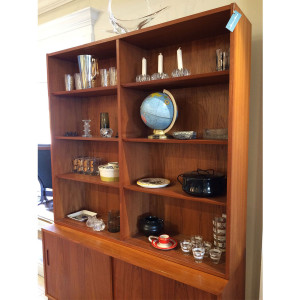 Condo-Sized Danish Teak Adjustable Bookcase / Display Cabinet