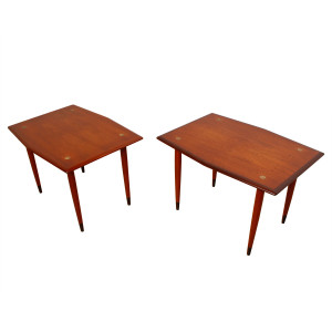 Pair of Swedish DUX Hexagonal Shaped Accent / Side Tables