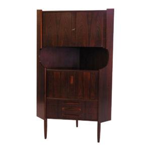 Exquisite Danish Rosewood Corner Locking Bar / Cabinet