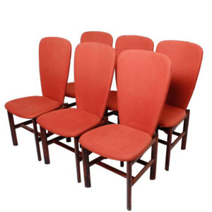 Set of 6 Red 'Heart' Chairs in Rosewood