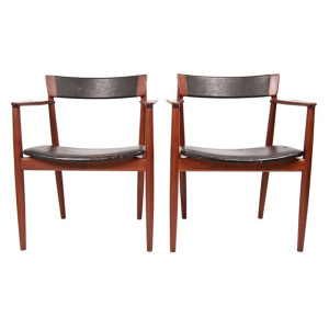 Pair Danish Teak & Leather Dining 'Captain' / Lounge Arm Chairs