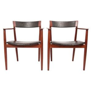 Pair Danish Teak & Leather Dining 'Captain' / Lounge Arm Chairs