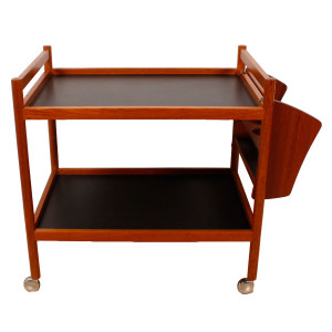Danish Modern Teak Bar Cart w/ Removable Bottle Rack