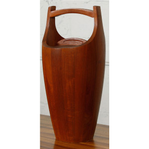 Large Danish Modern Teak Ice Bucket & Tongs by Dansk