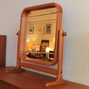 Petite Danish Modern Teak Cheval Table Mirror